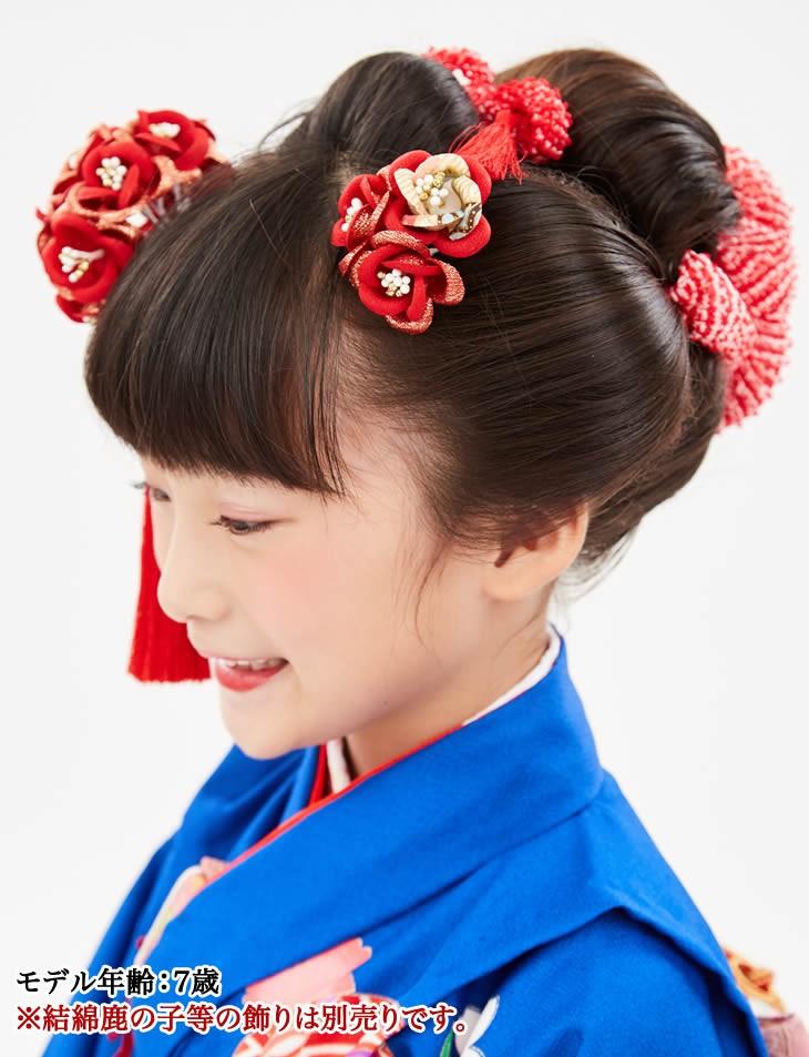 赤 朱色 753 薔薇 花 かんざし