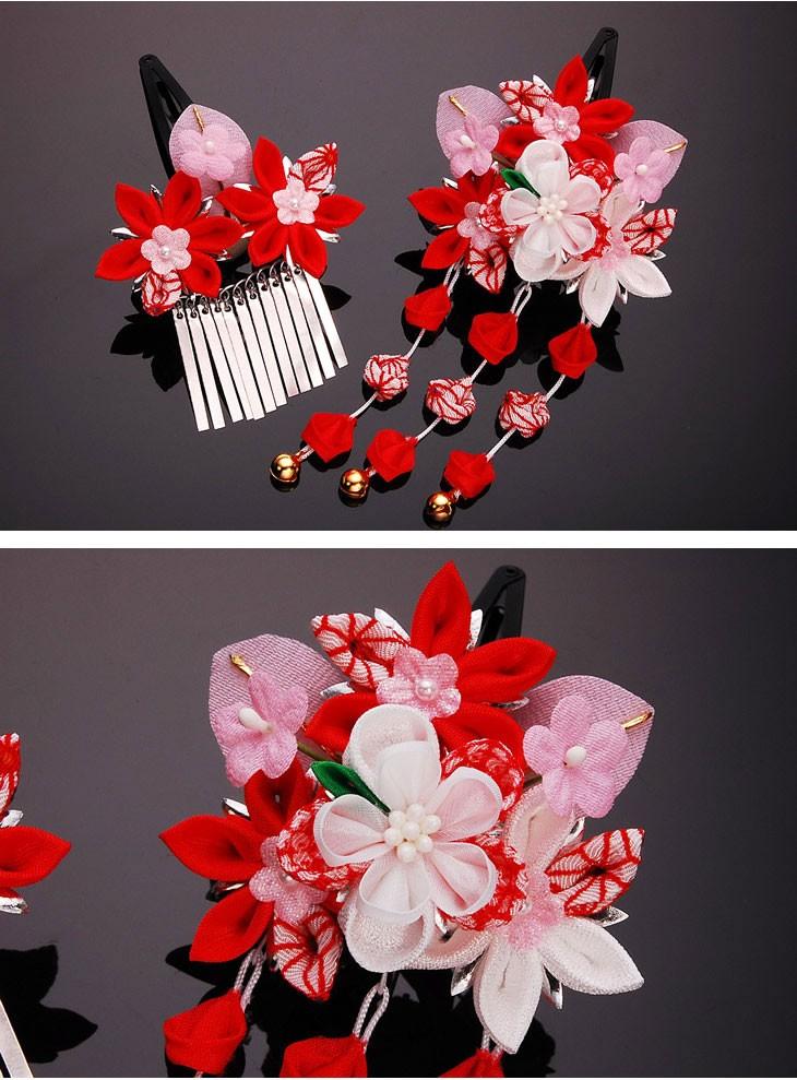 かんざし2点セット 赤 朱色 753 菊 梅 花 つまみかんざし パッチンどめ シルク ちりめん 髪飾り 髪留め ヘアアクセサリー 結婚式 婚礼 パーティー 浴衣 ゆかた 着物 東京伝統工芸マーク