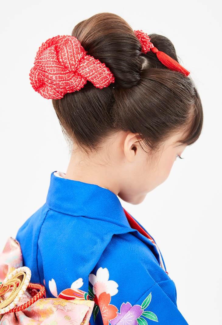 七五三向け 結綿かのことチンコロ房付のセット 赤 装着イメージ