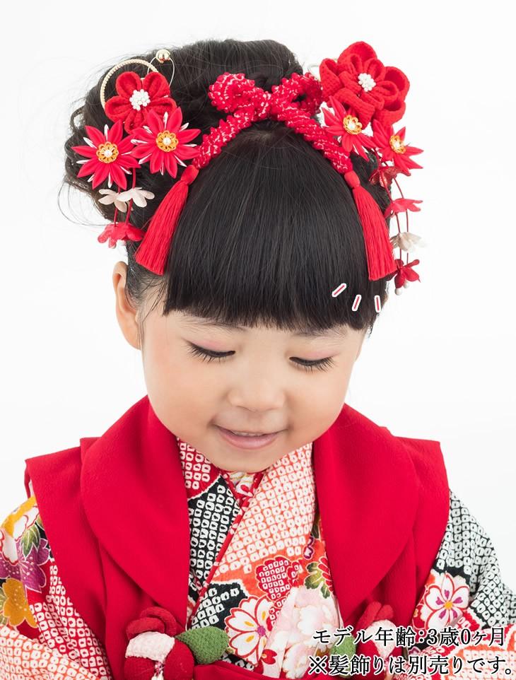 七五三向け 結綿かのことチンコロ房付のセット 赤 装着イメージ モデル3歳