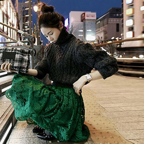 総レース ミモレ丈 スカート フレア 花柄レース 透け感 ウェストゴム  新春セール 一部即納|karei|12