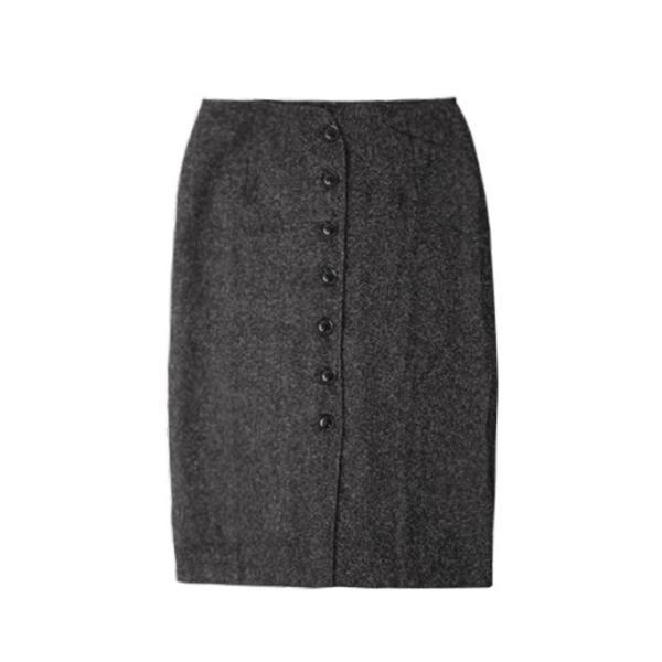 トレンチスカート 秋冬 ハイウエスト ボトムス ツイード風 タイトスカート 前開き ボタン式 グレー ブラック 新春セール 一部即納|karei|13