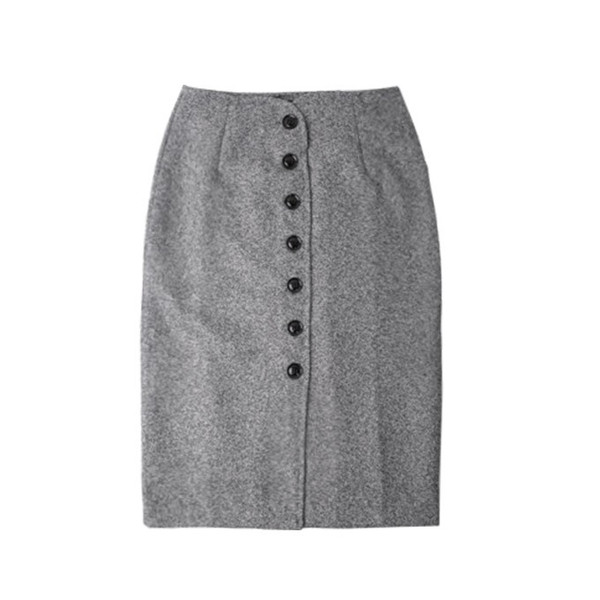 トレンチスカート 秋冬 ハイウエスト ボトムス ツイード風 タイトスカート 前開き ボタン式 グレー ブラック 新春セール 一部即納|karei|12