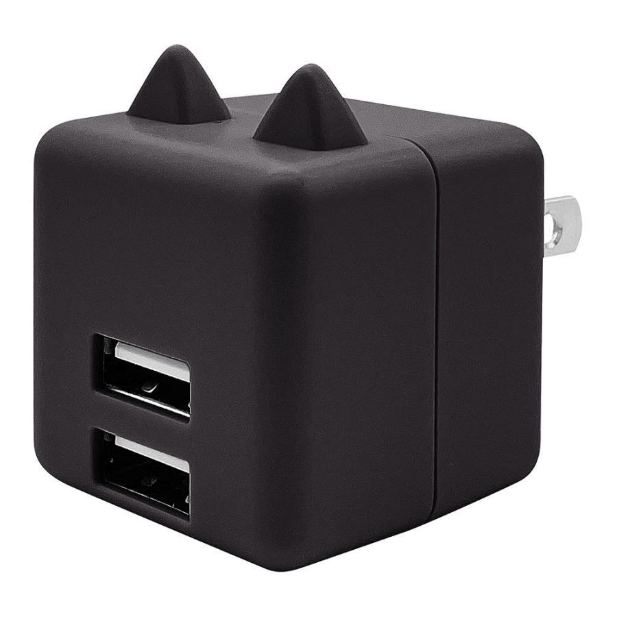 ラスタバナナ 耳付きAC充電器 汎用 コンパクトタイプ Smart IC搭載 USB2ポート 2.4A 5V タイプA 猫耳 ネコミミ かわいい にゃんコロ充電器 mimi 充電 スマートIC keitai-kazariya 13