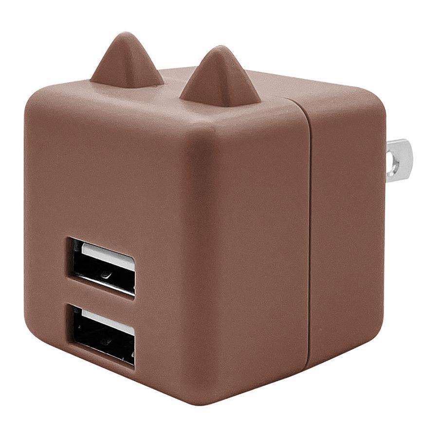 ラスタバナナ 耳付きAC充電器 汎用 コンパクトタイプ Smart IC搭載 USB2ポート 2.4A 5V タイプA 猫耳 ネコミミ かわいい にゃんコロ充電器 mimi 充電 スマートIC keitai-kazariya 16