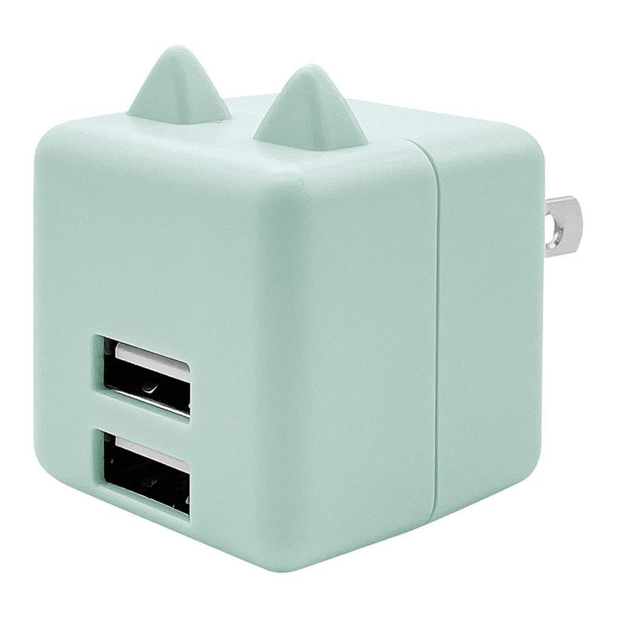 ラスタバナナ 耳付きAC充電器 汎用 コンパクトタイプ Smart IC搭載 USB2ポート 2.4A 5V タイプA 猫耳 ネコミミ かわいい にゃんコロ充電器 mimi 充電 スマートIC keitai-kazariya 19