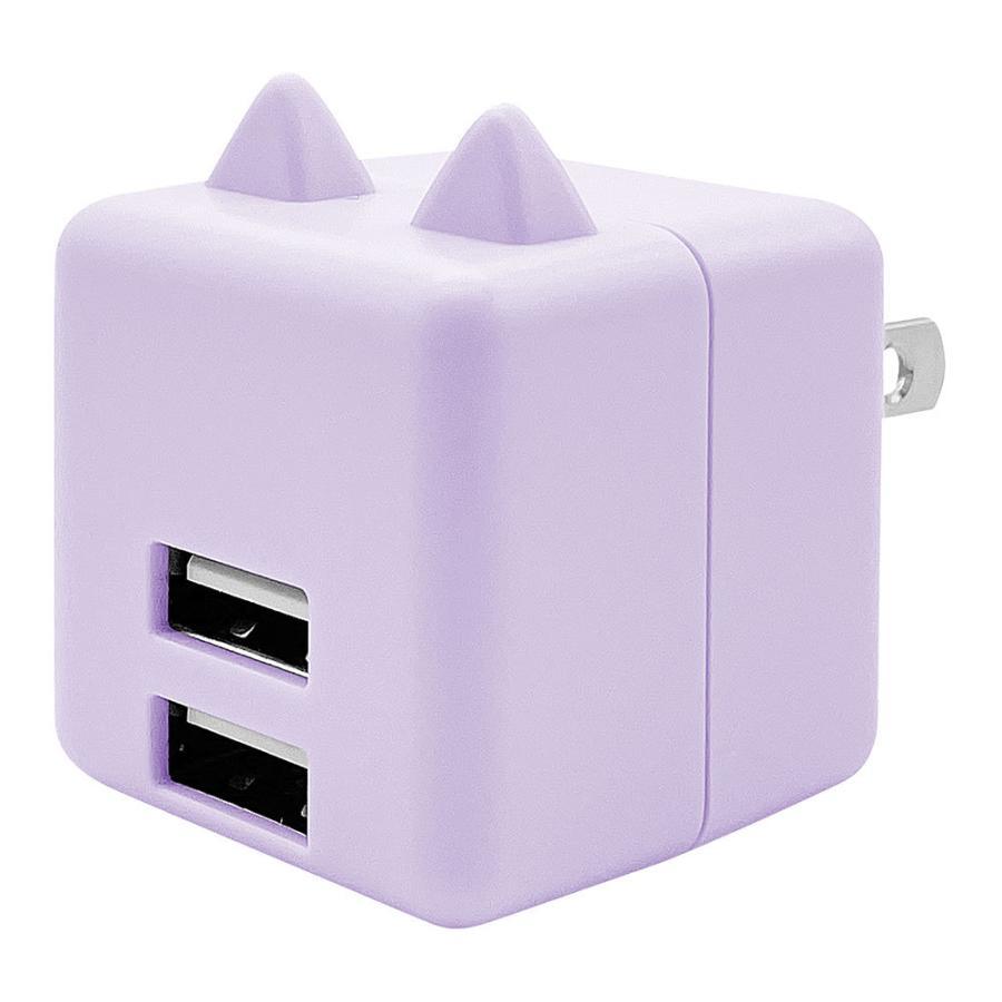 ラスタバナナ 耳付きAC充電器 汎用 コンパクトタイプ Smart IC搭載 USB2ポート 2.4A 5V タイプA 猫耳 ネコミミ かわいい にゃんコロ充電器 mimi 充電 スマートIC keitai-kazariya 20