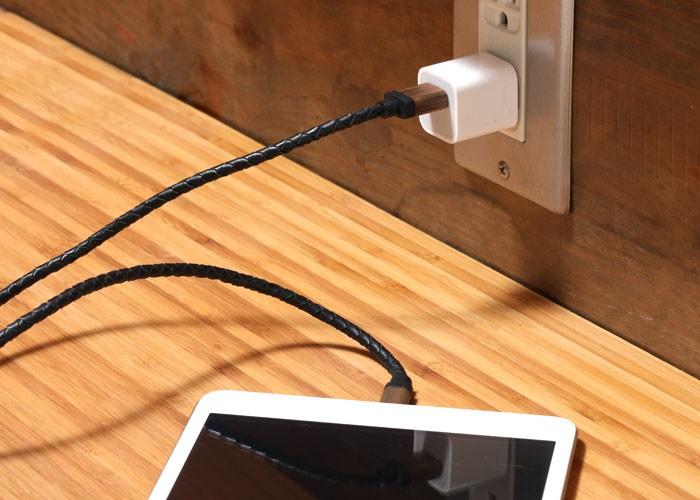 ウォルナットのケーブルを使用し、コンセントでiPad miniを充電している画像。