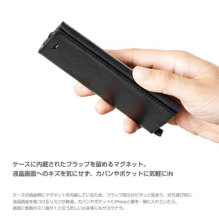 ケースに内蔵されたフラップを止めるマグネット。液晶画面へのキズを気にせず、カバンやポケットにIN
