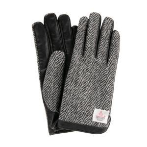 スマホ手袋 メンズ レディース 本革 防寒 裏起毛 ボア 温かい オシャレ ハリスツイード ラムレザーグローブ スマートフォン対応  送料無料|iPhone・スマホケースのHamee