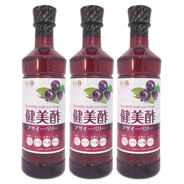 SSB 美酢(ミチョ)  飲むお酢 健美酢 アサイーベリー 500ml 3本 健康酢 飲めるお酢 kenbi-choice