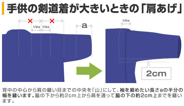 剣道着の肩上げ(サイズが大きい場合の対処法)