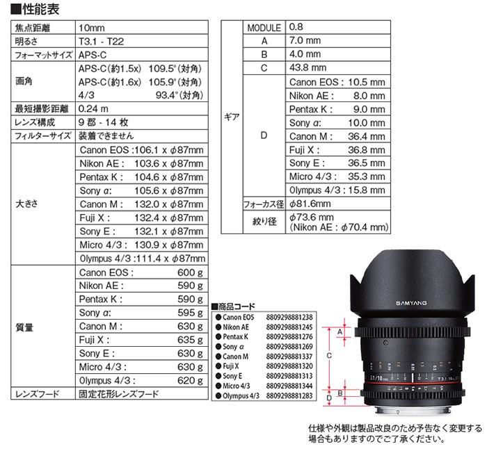 SAMYANG (サムヤン)10mm T3.1 VDSLR ED AS UMC CSレンズ仕様
