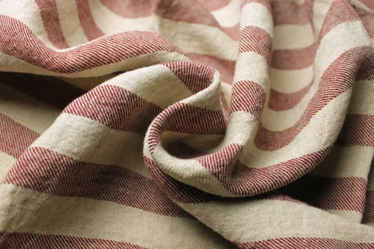 生地の森オリジナル 洗った綾織1/25番手ラミーリネン先染めボーダー