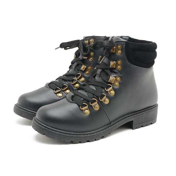 ブーツ レディース ショートブーツ レディース ローヒール レースアップ 太ヒール 厚底 歩きやすい 疲れにくい 黒 美脚 サイドジップ カジュアル 冬 靴
