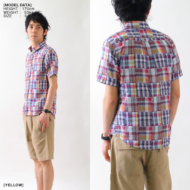 2レイヤーボタンダウンチェックシャツ(半袖)
