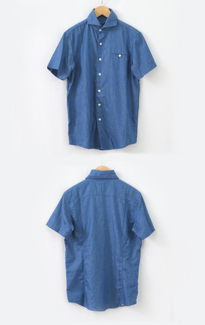 半袖ワイドカラーシャンブレーシャツ