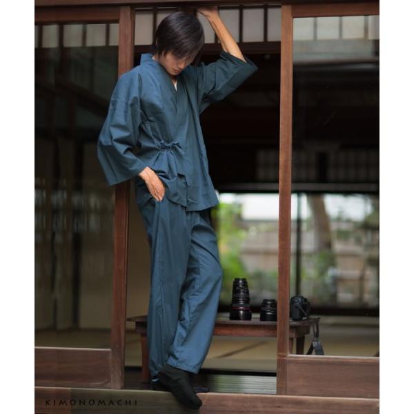 作務衣「黒、茶、青、赤」全4色 S、M、L、LL  男女兼用 綿ポリ 紳士作務衣 メンズ 父の日 敬老の日 さむえ(メール便不可)|kimonomachi|10