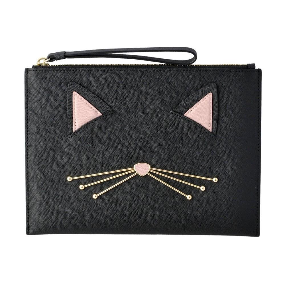 ケイトスペード Kate Spade PWRU6627 098 猫モチーフ ハンドポーチ クラッチバッグ CAT'S MEOW cat medium bella pouch