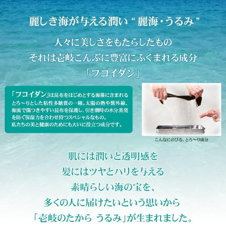 """麗しき海が与える潤い""""麗海・うるみ""""。肌には潤いと透明感を、髪にはツヤとハリを与える 素晴らしい海の宝を、多くの人に届けたいという思いから 「壱岐のたからうるみ」が生まれました。"""