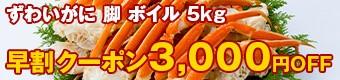 ずわいがに 脚 ボイル 5kg 3,000円OFF
