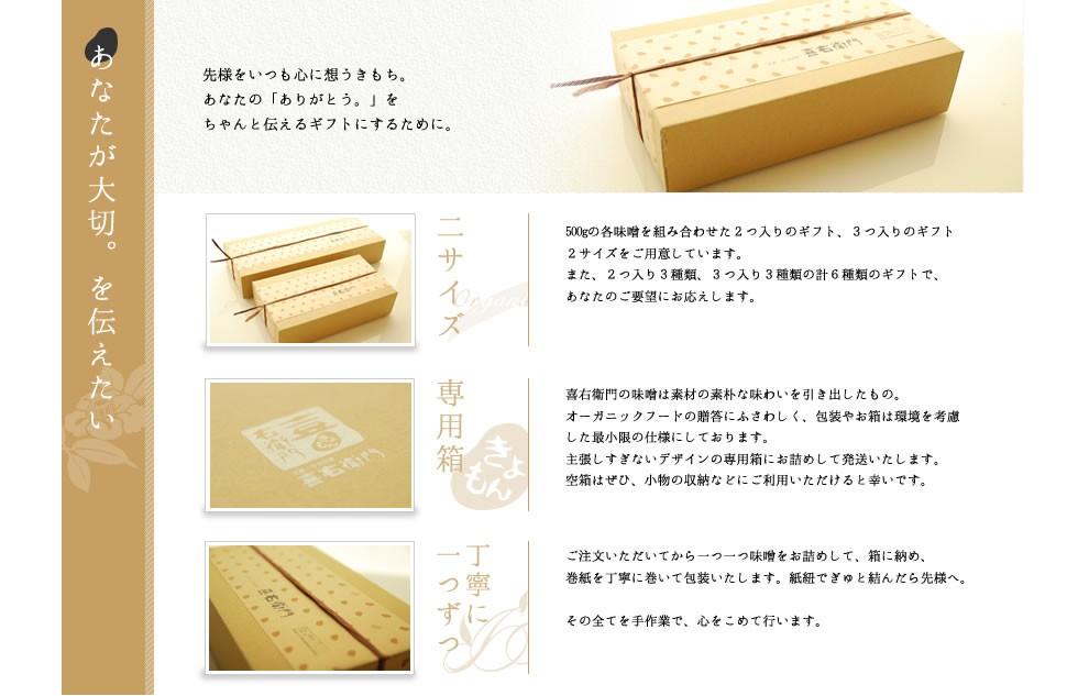 喜右衛門のオーガニックギフト 京都で大切に有機で育てられた有機味噌のギフトは、あなたが先様を想う気持ちと同じくらい、優しさいっぱい