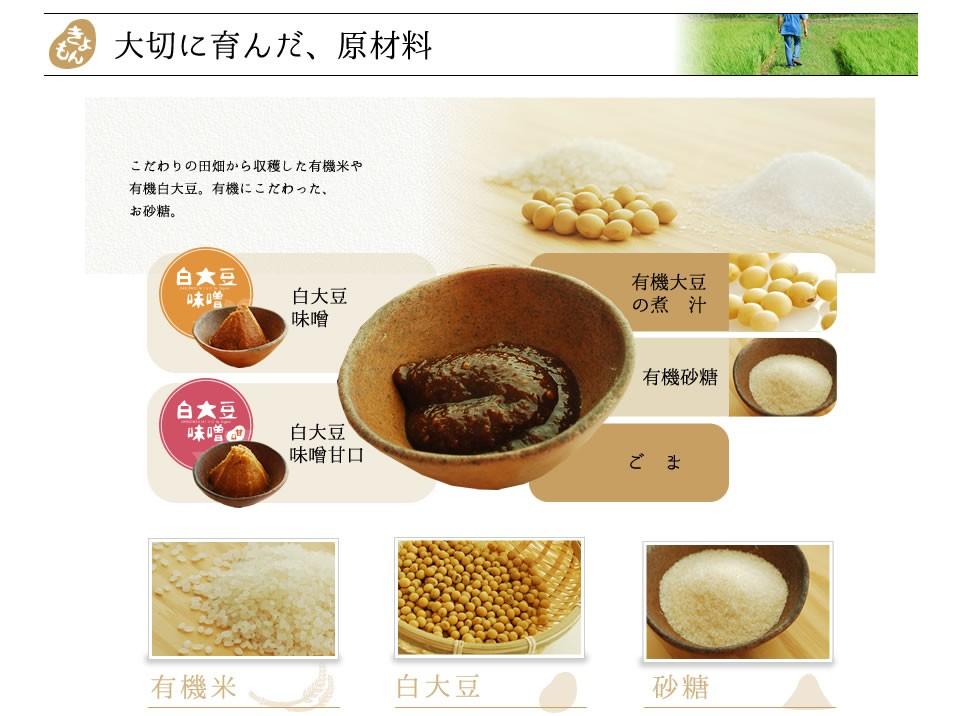 有機味噌だれの原材料 原材料も有機にこだわっています。