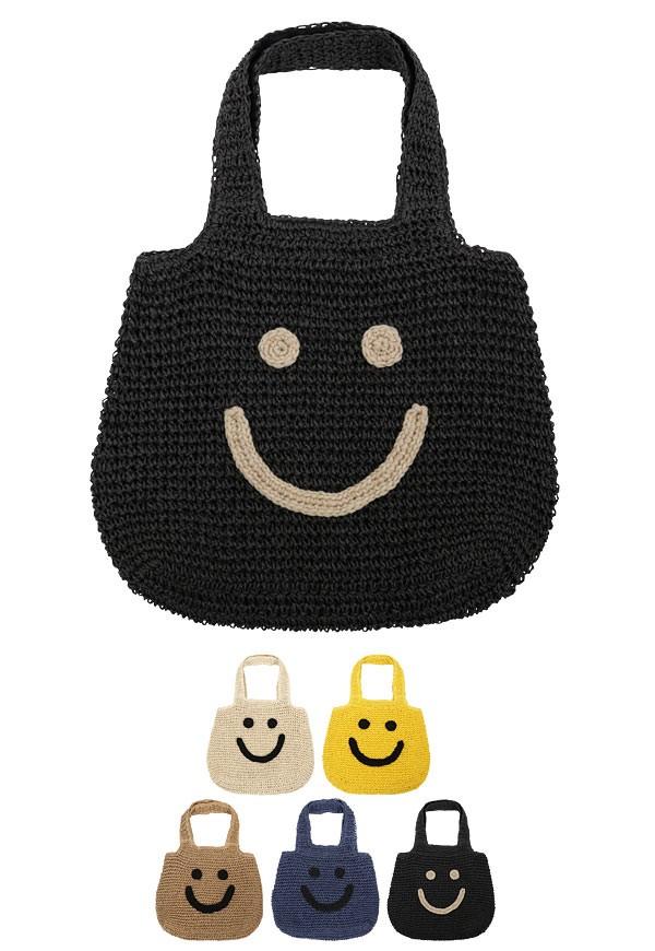 スマイル刺繍ペーパー素材トートバッグ/レディース 裏地付き B1016