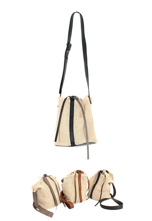 夏 配色メッシュストローラウンドバッグ レディース 鞄 カゴ バケツ ショルダー 巾着 異素材 カジュアル リゾート 春 B1233