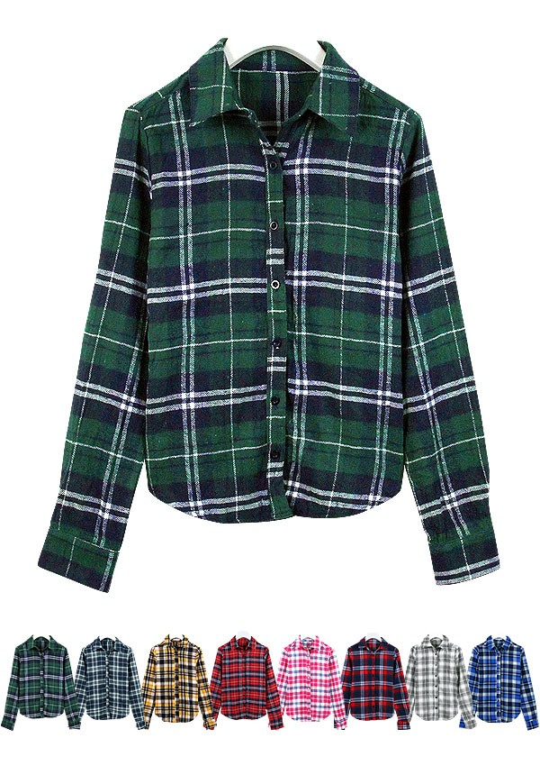 ベーシック長袖チェック柄ネルシャツ/チェックシャツ/レディース C1657