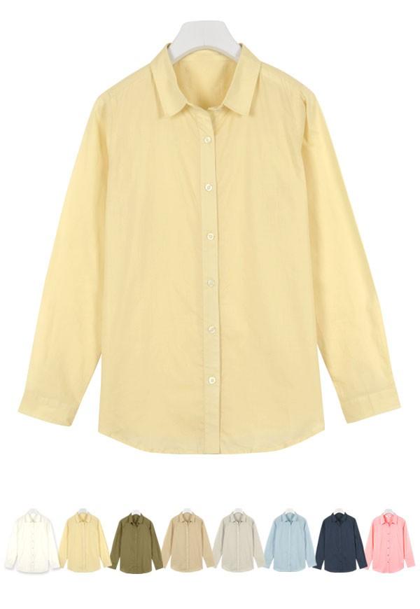 ガーゼ風ベーシックシアーシャツトップス/綿/レディース コットン100 C2081