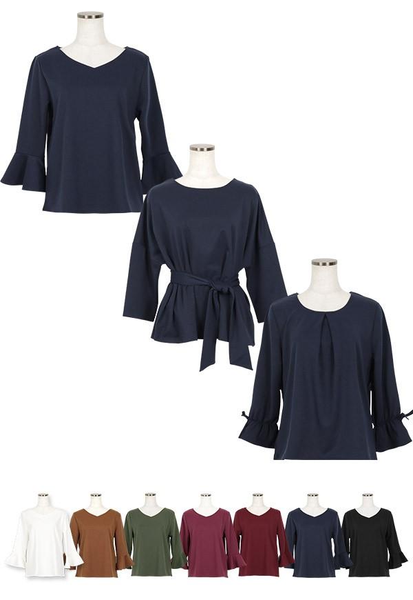 袖コンシャス 選べる3type フレア ベルト リボン Tブラウス レディース ブラウス Tシャツ フレア リボン C3441