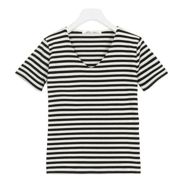 Tシャツ レディース トップス カットソー 半袖 体型カバー 40代 30代 リブ 選べる Uネック Vネック 前身二重 C3654送料無料メ便対応 kobelettuce 27