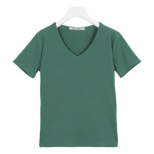 Tシャツ レディース トップス カットソー 半袖 体型カバー 40代 30代 リブ 選べる Uネック Vネック 前身二重 C3654送料無料メ便対応 kobelettuce 23