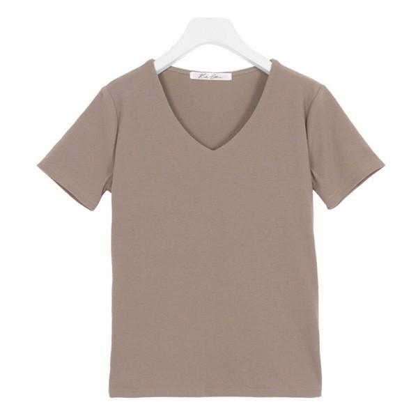 Tシャツ レディース トップス カットソー 半袖 体型カバー 40代 30代 リブ 選べる Uネック Vネック 前身二重 C3654送料無料メ便対応 kobelettuce 22