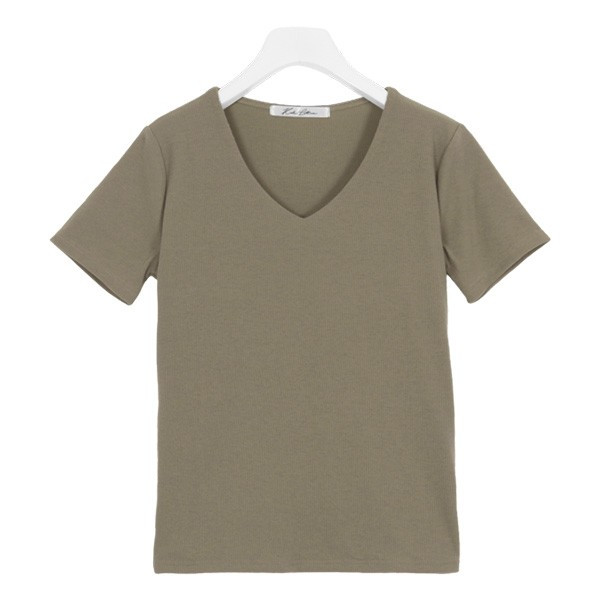 Tシャツ レディース トップス カットソー 半袖 体型カバー 40代 30代 リブ 選べる Uネック Vネック 前身二重 C3654送料無料メ便対応 kobelettuce 24