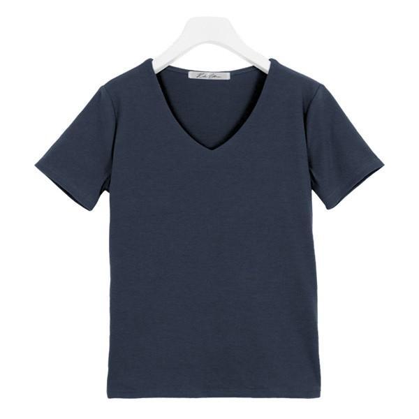 Tシャツ レディース トップス カットソー 半袖 体型カバー 40代 30代 リブ 選べる Uネック Vネック 前身二重 C3654送料無料メ便対応 kobelettuce 25