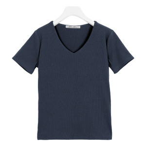 Tシャツ レディース トップス カットソー 半袖 体型カバー リブ 選べる Uネック Vネック 前身二重 C3654送料無料メ便対応|神戸レタスKOBELETTUCE