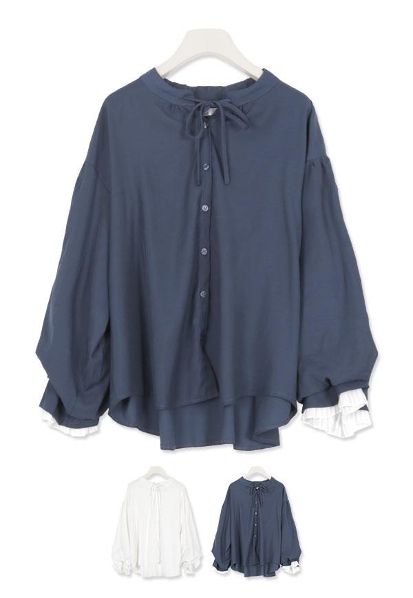 ゆったり 袖プリーツブラウス レディース トップス ブラウス プリーツ ボリューム袖 C3704