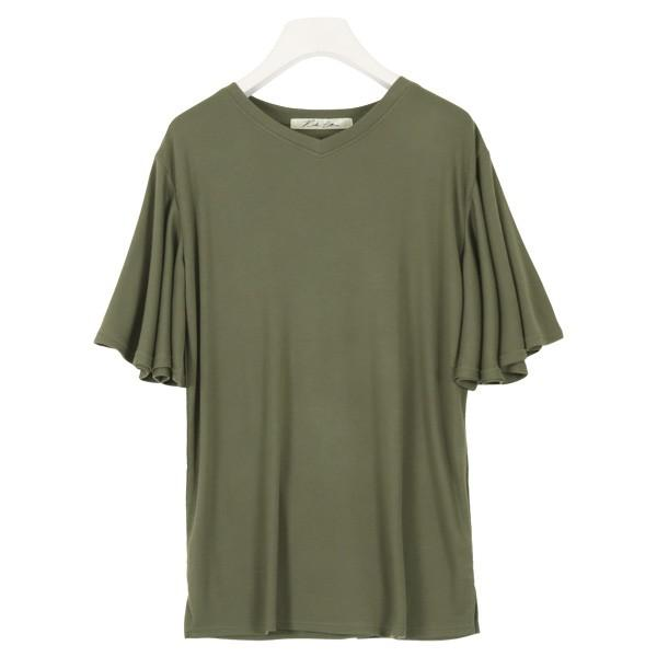 カットソー Tシャツ トップス レディース 体型カバー 大きいサイズ ゆったり 夏 袖フリル レーヨン フレア C3723|kobelettuce|16