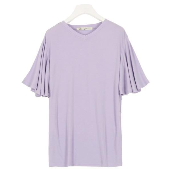 カットソー Tシャツ トップス レディース 体型カバー 大きいサイズ ゆったり 夏 袖フリル レーヨン フレア C3723|kobelettuce|15