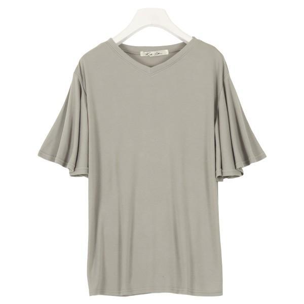 カットソー Tシャツ トップス レディース 体型カバー 大きいサイズ ゆったり 夏 袖フリル レーヨン フレア C3723|kobelettuce|14