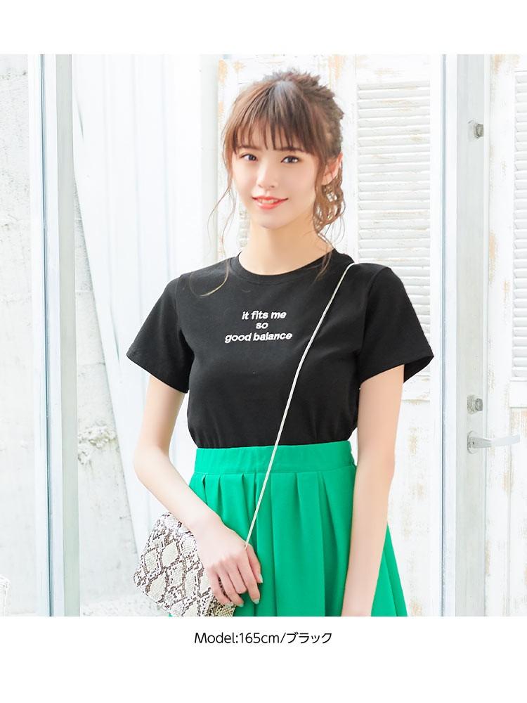 コンパクト 刺繍ロゴちびT レディース カジュアル トップス Tシャツ インナー 半袖 ワンポイント ベーシック シンプル C3748