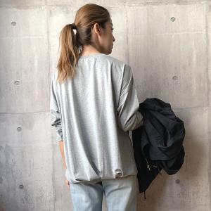 カットソー トップス Vネック ロンT レディース 長袖 ゆったり Tシャツ 裾タック 40代 大きいサイズ C3995|神戸レタスKOBELETTUCE