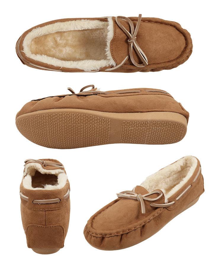 無地 リボン紐ファーモカシン レディース シューズ レオパード ムートン フラット デイリー 歩きやすい 中敷き 靴 柄 H548