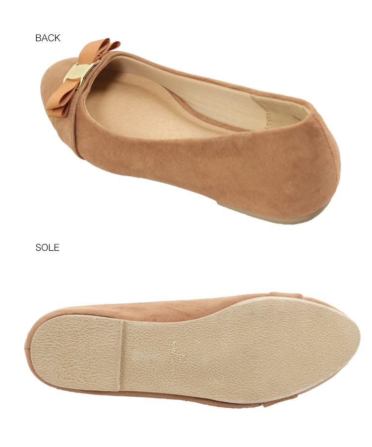 バレエシューズ ラウンドリボンフラットパンプス レディース 靴 シューズ パンプス フラットパンプス リボン I1733