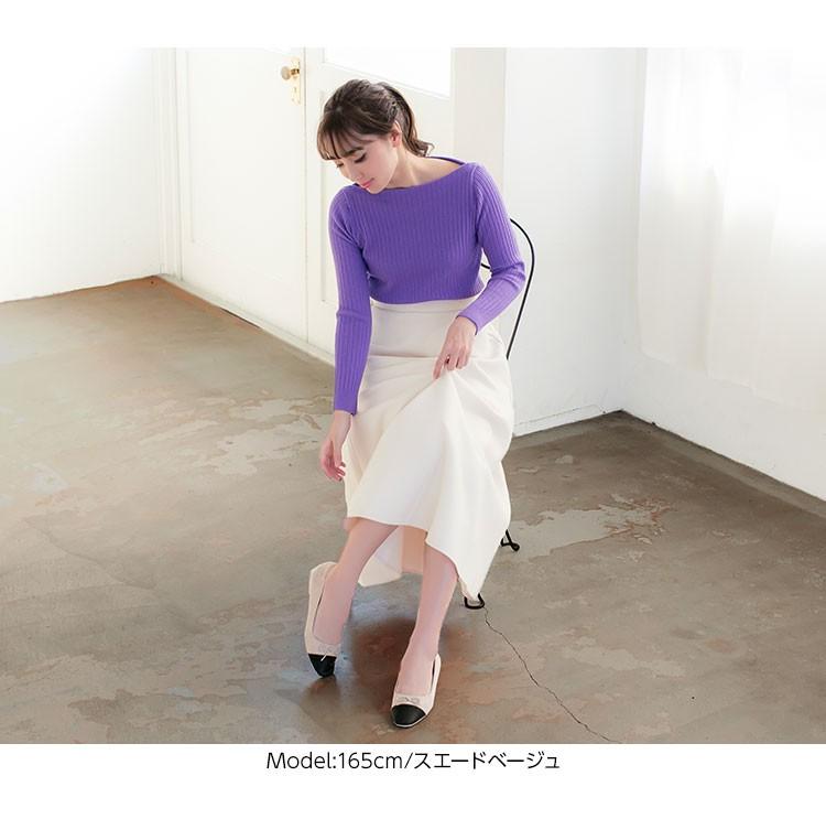 歩きやすい つま先配色バイカラー スクエアトゥバレエパンプス レディース バレエシューズ 切り替え ぺたんこ I1737
