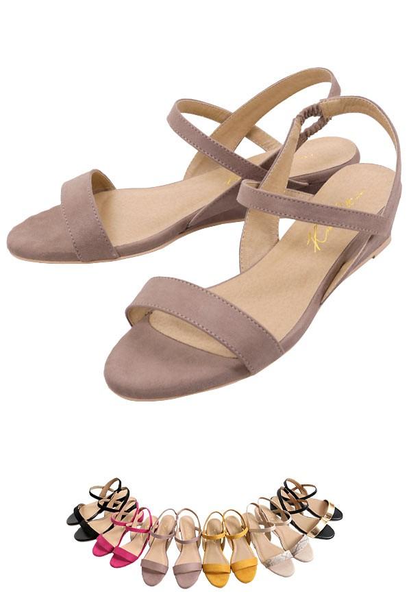 ゴムストラップ ウェッジソールゴムサンダル3 5cmヒール レディース 靴 シューズ サンダル ウェッジソールソールサンダル I1801