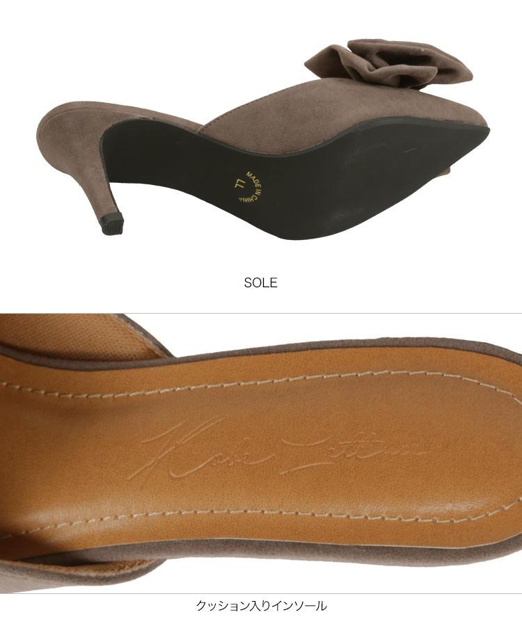 黒 ビッグリボンミュール レディース シューズ 靴 サンダル フェミニン ヒール 無地 柄 チェック ドット クッション I1873