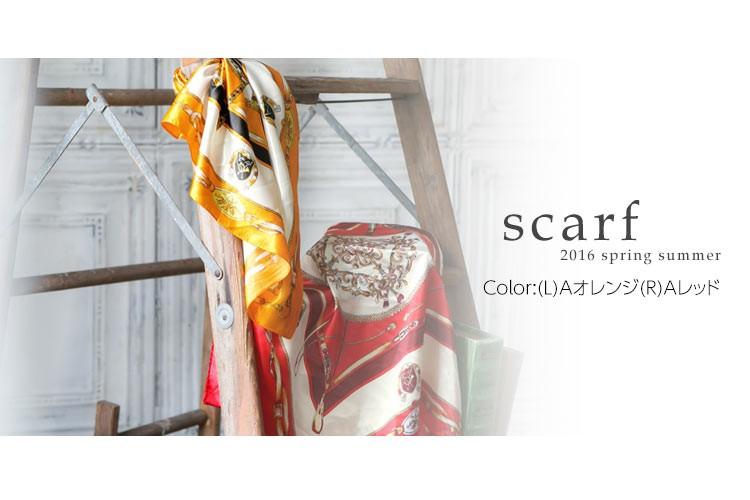 サテン素材スカーフ/レディース 選べる3柄 J435